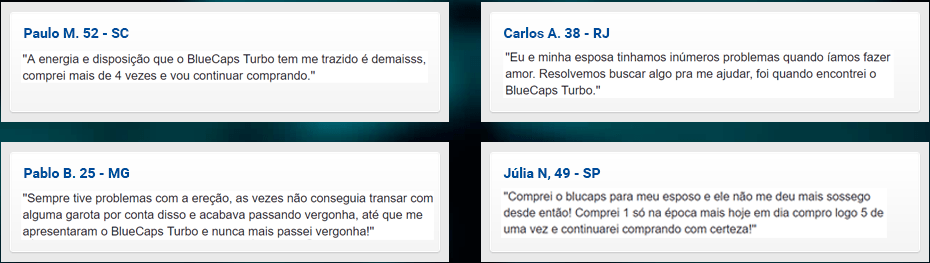 BlueCaps Turbo - Depoimentos